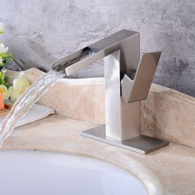 Single Handle One Hole Brushed Bathroom Sink FaucetFaucets<br>Single Handle One Hole Brushed Bathroom Sink Faucet<br><br>Cold and Hot Switch: Yes<br>Feature: Waterfall<br>Finish: Brushed<br>Function: Bathroom Sink Faucets<br>Installation Holes: One Hole<br>Material: Stainless Steel<br>Number of Handles: Single Handle<br>Package Contents: 1 x Bathroom Sink Faucet<br>Package size (L x W x H): 25.50 x 24.00 x 14.00 cm / 10.04 x 9.45 x 5.51 inches<br>Package weight: 1.5200 kg<br>Product size (L x W x H): 24.50 x 23.00 x 13.00 cm / 9.65 x 9.06 x 5.12 inches<br>Product weight: 0.9000 kg<br>Style: Contemporary