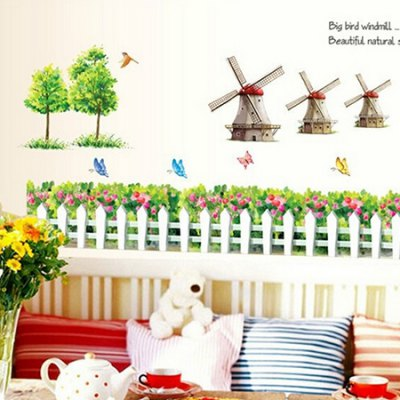 Fence Windmills Waterproof Wall StickerWall Stickers<br>Fence Windmills Waterproof Wall Sticker<br><br>Art Style: Plane Wall Stickers<br>Color Scheme: Multicolor<br>Functions: Decorative Wall Stickers<br>Hang In/Stick On: Bedrooms,Living Rooms<br>Material: Vinyl(PVC), Self-adhesive Plastic<br>Package Contents: 1 x Sticker<br>Package size (L x W x H): 60.00 x 4.00 x 2.00 cm / 23.62 x 1.57 x 0.79 inches<br>Package weight: 0.1900 kg<br>Product size (L x W x H): 60.00 x 90.00 x 2.00 cm / 23.62 x 35.43 x 0.79 inches<br>Product weight: 0.1600 kg