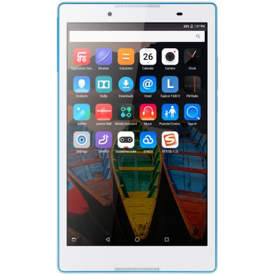 Lenovo TB3 - 850F Tablet PCTablet PCs<br>Lenovo TB3 - 850F Tablet PC<br><br>3.5mm Headphone Jack: Yes<br>AC adapter: 110-240V 5V 2.5A<br>Additional Features: Alarm, Bluetooth, Browser, Calculator, Calendar, Gravity Sensing System, MP3, MP4, Wi-Fi<br>Back camera: 5.0MP<br>Battery Capacity(mAh): 4290mAh, Li-ion polymer<br>Bluetooth: 4.0<br>Brand: Lenovo<br>Camera type: Dual cameras (one front one back)<br>Core: 1GHz, Quad Core<br>CPU: MTK8161<br>CPU Brand: MTK<br>External Memory: TF card up to 32GB (not included)<br>Front camera: 2.0MP<br>G-sensor: Supported<br>Google Play Store: Supported<br>GPS: Yes<br>IPS: Yes<br>Languages support : Supports multi-language<br>MIC: Supported<br>Micro USB Slot: Yes<br>MS Office format: Excel, PPT, Word<br>OS: Android 6.0<br>Package size: 24.00 x 15.00 x 6.00 cm / 9.45 x 5.91 x 2.36 inches<br>Package weight: 0.6050 kg<br>Picture format: JPEG, PNG, JPG, GIF, BMP<br>Power Adapter: 1<br>Product size: 21.70 x 12.60 x 0.80 cm / 8.54 x 4.96 x 0.31 inches<br>Product weight: 0.3480 kg<br>RAM: 2GB<br>ROM: 16GB<br>Screen resolution: 1280 x 800 (WXGA)<br>Screen size: 8 inch<br>Screen type: Capacitive (5-Point)<br>Skype: Supported<br>Speaker: Built-in Dual Channel Speaker<br>Support Network: WiFi<br>Tablet PC: 1<br>TF card slot: Yes<br>Type: Tablet PC<br>USB Cable: 1<br>WIFI: 802.11b/g/n wireless internet<br>Youtube: Supported
