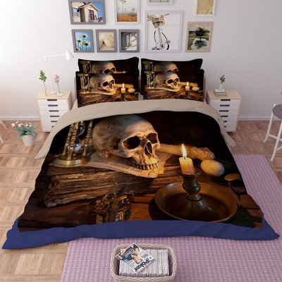 5-piece Polyester Bedding Set Skull / Lighted Candle PatternBedding Sets<br>5-piece Polyester Bedding Set Skull / Lighted Candle Pattern<br><br>Package Contents: 2 x Pillowcase, 1 x Duvet Cover, 1 x Flat Sheet, 1 x Fitted Sheet<br>Package size (L x W x H): 40.00 x 30.00 x 4.00 cm / 15.75 x 11.81 x 1.57 inches<br>Package weight: 2.0500 kg<br>Pattern Type: Novelty<br>Product weight: 2.0000 kg<br>Type: Double