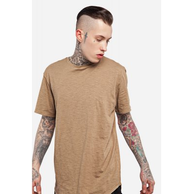Stylish Long T-shirt for MenMens Short Sleeve Tees<br>Stylish Long T-shirt for Men<br><br>Fabric Type: Cotton<br>Material: Cotton<br>Neckline: Round Collar<br>Package Content: 1 x T-shirt<br>Package size: 30.00 x 35.00 x 0.50 cm / 11.81 x 13.78 x 0.2 inches<br>Package weight: 0.2500 kg<br>Product weight: 0.2000 kg<br>Season: Summer<br>Sleeve Length: Short Sleeves<br>Style: Casual