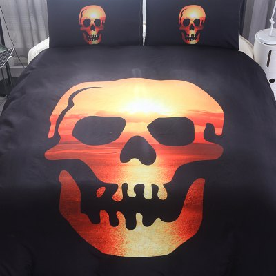 3-piece Bedding Set Smiling Skulls PatternBedding Sets<br>3-piece Bedding Set Smiling Skulls Pattern<br><br>Package Contents: 1 x Duvet Cover, 2 x Pillowcase<br>Package size (L x W x H): 30.00 x 24.00 x 7.00 cm / 11.81 x 9.45 x 2.76 inches<br>Package weight: 1.5500 kg<br>Pattern Type: Novelty<br>Product weight: 1.5000 kg<br>Style: Cartoon / Anime<br>Type: Double