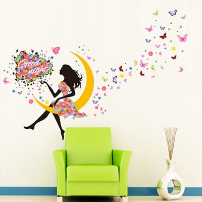 DIY Moon Girl Waterproof Wall StickerWall Stickers<br>DIY Moon Girl Waterproof Wall Sticker<br><br>Art Style: Plane Wall Stickers<br>Color Scheme: Multicolor<br>Functions: Decorative Wall Stickers<br>Hang In/Stick On: Bedrooms,Living Rooms<br>Material: Vinyl(PVC), Self-adhesive Plastic<br>Package Contents: 1 x Sticker<br>Package size (L x W x H): 60.00 x 4.00 x 2.00 cm / 23.62 x 1.57 x 0.79 inches<br>Package weight: 0.2000 kg<br>Product size (L x W x H): 60.00 x 90.00 x 2.00 cm / 23.62 x 35.43 x 0.79 inches<br>Product weight: 0.1600 kg