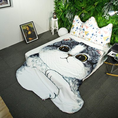 Cat Shape Printed Summer QuiltBedding Sets<br>Cat Shape Printed Summer Quilt<br><br>Package Contents: 1 x Summer Quilt<br>Package size (L x W x H): 30.00 x 40.00 x 5.00 cm / 11.81 x 15.75 x 1.97 inches<br>Package weight: 0.7400 kg<br>Pattern Type: Animal<br>Product weight: 0.7000 kg<br>Size: Full<br>Style: Cartoon / Anime