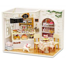 DIY Miniature Wooden Cake Shop Dollhouse with LED Light
