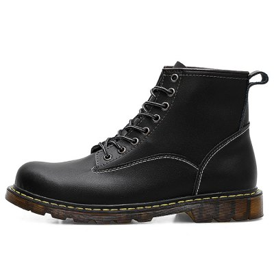 Stylish Martin Boots for MenMens Boots<br>Stylish Martin Boots for Men<br><br>Closure Type: Lace-Up<br>Color: Black<br>Contents: 1 x Pair of Boots<br>Function: Antistatic, Slip Resistant, Puncture Resistant<br>Materials: TPR, Genuine Leather<br>Occasion: Casual<br>Package Size ( L x W x H ): 33.00 x 22.00 x 11.00 cm / 12.99 x 8.66 x 4.33 inches<br>Package Weights: 1.07kg<br>Seasons: Autumn,Spring,Winter<br>Size: 39<br>Style: Leisure, Fashion, Comfortable<br>Type: Boots