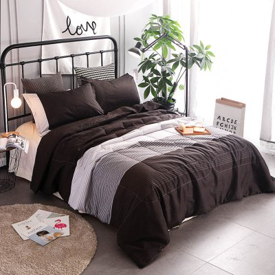3-piece Polyester Bedding Set White / Grey / Deep Brown StripesBedding Sets<br>3-piece Polyester Bedding Set White / Grey / Deep Brown Stripes<br><br>Package Contents: 1 x Filled Air Conditioner Quilt for Summer, 2 x Pillowcase<br>Package size (L x W x H): 30.00 x 20.00 x 15.00 cm / 11.81 x 7.87 x 5.91 inches<br>Package weight: 2.4500 kg<br>Pattern Type: Stripe<br>Product weight: 2.4000 kg<br>Style: Strip / Grid<br>Type: Double