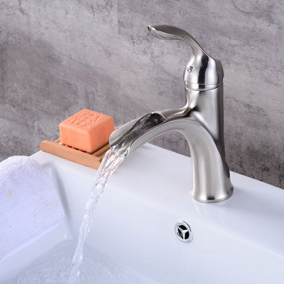 Silver Single Handle One Hole Bathroom Sink Faucet kitchen chrome plated brass faucet single handle pull out pull down sink mixer hot and cold tap modern design