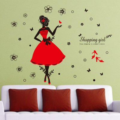 Fashion Shopping Girls Wall StickerWall Stickers<br>Fashion Shopping Girls Wall Sticker<br><br>Art Style: Plane Wall Stickers<br>Functions: Decorative Wall Stickers<br>Hang In/Stick On: Bedrooms,Living Rooms<br>Material: Vinyl(PVC)<br>Package Contents: 1 x Wall Sticker<br>Package size (L x W x H): 40.00 x 4.00 x 1.00 cm / 15.75 x 1.57 x 0.39 inches<br>Package weight: 0.1000 kg<br>Product weight: 0.0800 kg<br>Subjects: People