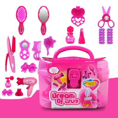 17pcs / set Plastic Hairdressing Makeup ToolPretend Play<br>17pcs / set Plastic Hairdressing Makeup Tool<br><br>Age: Above 3 Years<br>Package Contents: 17 x Pretend Play Toy, 1 x Box<br>Package size (L x W x H): 22.00 x 12.00 x 15.00 cm / 8.66 x 4.72 x 5.91 inches<br>Package weight: 0.6300 kg<br>Product weight: 0.5000 kg<br>Type: Pretend Play