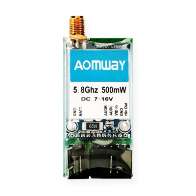 AOMWAY TX005A 5.8GHz 15CH 500mW FPV TransmitterReceiver &amp; Transmitter<br>AOMWAY TX005A 5.8GHz 15CH 500mW FPV Transmitter<br><br>Brand: Aomway<br>FPV Equipments: AV Transmitter<br>Functions: Video<br>Package Contents: 1 x FPV Transmitter, 1 x 4dBi Dipole Antenna, 1 x AV Cable, 1 x DC Power Cable<br>Package size (L x W x H): 8.00 x 3.50 x 1.50 cm / 3.15 x 1.38 x 0.59 inches<br>Package weight: 0.0720 kg<br>Product size (L x W x H): 5.50 x 2.50 x 0.80 cm / 2.17 x 0.98 x 0.31 inches<br>Product weight: 0.0180 kg