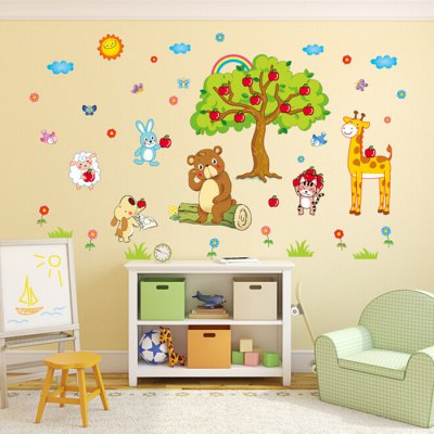 Cute Cartoon Animals / Apple Tree PVC Wall StickerWall Stickers<br>Cute Cartoon Animals / Apple Tree PVC Wall Sticker<br><br>Art Style: Plane Wall Stickers<br>Color Scheme: Multicolor<br>Functions: Decorative Wall Stickers<br>Hang In/Stick On: Bedrooms,Kids Room,Living Rooms<br>Material: Vinyl(PVC)<br>Package Contents: 1 x Sticker<br>Package size (L x W x H): 41.00 x 4.00 x 1.00 cm / 16.14 x 1.57 x 0.39 inches<br>Package weight: 0.1900 kg<br>Product size (L x W x H): 40.00 x 60.00 x 1.00 cm / 15.75 x 23.62 x 0.39 inches<br>Product weight: 0.1600 kg