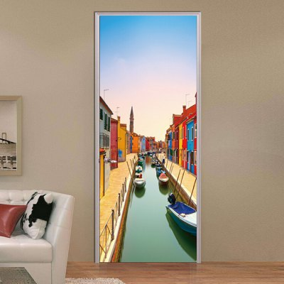 MT034 3D PVC Venice Burano Canal Door Sticker