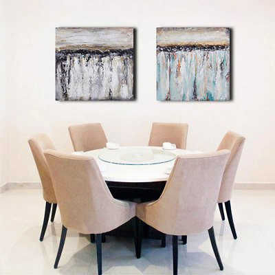 Oil Painting Abstract Style Gray Canvas Material Decoration