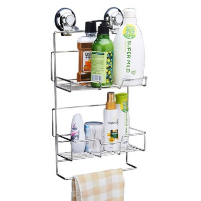 CW812 Stainless Steel Suction Cup Two-layer Storage Basket 218070701