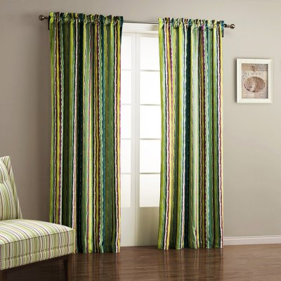 Ink-jet Printing Colorful Stripes Window Curtain 52W x 84L