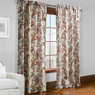 Ink-jet Printing Leaves Pattern Window Curtains 52 x 96 inch