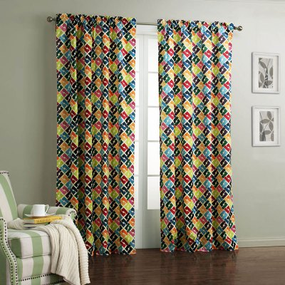 Ink-jet Printing Linked Pattern Window Curtain 52 x 63 inch
