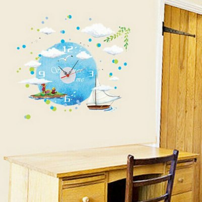 Sailboat Style Wall Clock StickerWall Stickers<br>Sailboat Style Wall Clock Sticker<br><br>Material: PVC<br>Package Contents: 1 x Wall Clock Sticker<br>Package size (L x W x H): 39.00 x 20.00 x 4.00 cm / 15.35 x 7.87 x 1.57 inches<br>Package weight: 0.2300 kg<br>Product weight: 0.1900 kg<br>Style: Cute<br>Theme: Scenic<br>Time Display: Digital<br>Type: Wall Clock