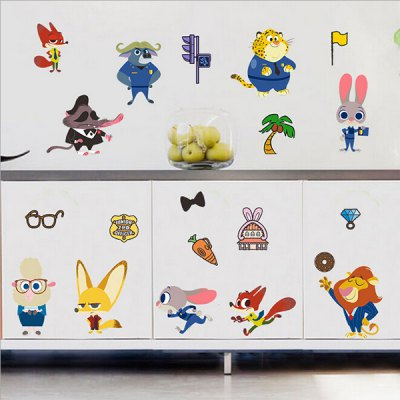 Cartoon Animals Waterproof Removable Wall StickerWall Stickers<br>Cartoon Animals Waterproof Removable Wall Sticker<br><br>Art Style: Plane Wall Stickers<br>Color Scheme: Multicolor<br>Material: Vinyl(PVC)<br>Package Contents: 1 x Sticker<br>Package size (L x W x H): 31.00 x 4.00 x 2.00 cm / 12.2 x 1.57 x 0.79 inches<br>Package weight: 0.3400 kg<br>Product size (L x W x H): 30.00 x 60.00 x 2.00 cm / 11.81 x 23.62 x 0.79 inches<br>Product weight: 0.3200 kg
