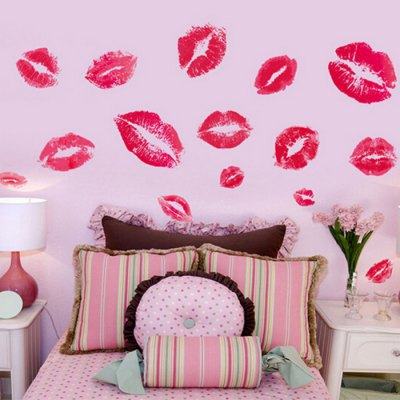 Red Lips Removable Waterproof Wall Sticker