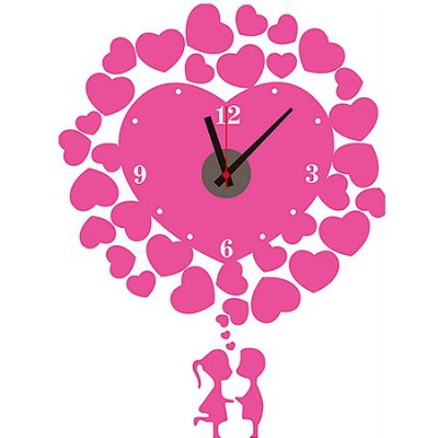 Young Lover and Hearts Style Wall Clock Sticker