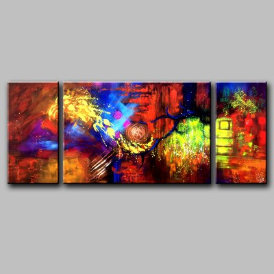 YHHP Canvas Oil Painting Colorful Abstract Hand Painted Home Decor