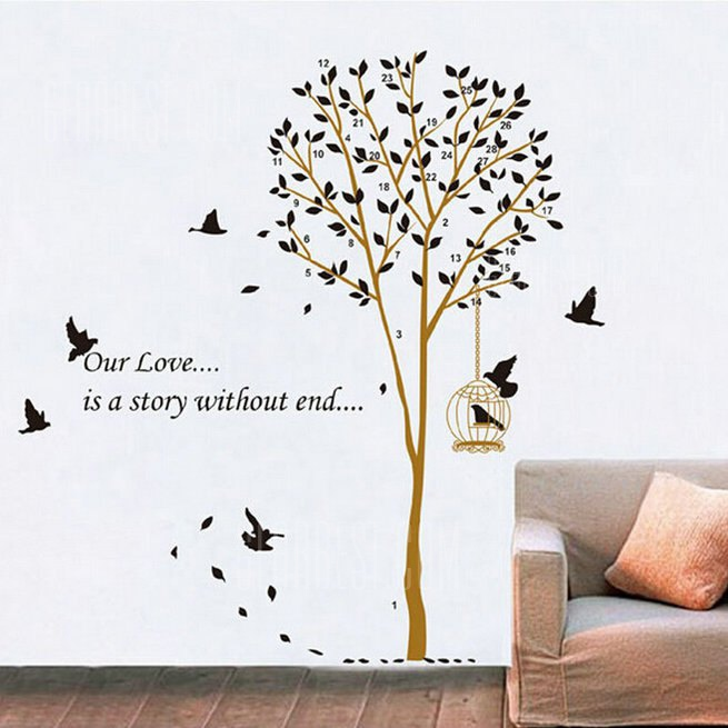Buy Birdcage Tree Style Wall Sticker COLORMIX