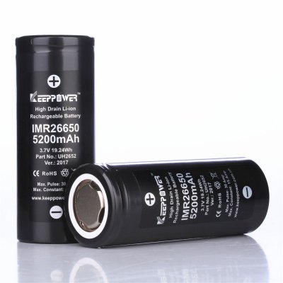 KeepPower 5200mAh 26650 Rechargeable 3.7V IMR Flat Lithium Battery Max 30ABatteries<br>KeepPower 5200mAh 26650 Rechargeable 3.7V IMR Flat Lithium Battery Max 30A<br><br>Brand: Keeppower<br>Package Contents: 1 x 26650 Battery<br>Package size (L x W x H): 8.00 x 4.00 x 4.00 cm / 3.15 x 1.57 x 1.57 inches<br>Package weight: 0.1200 kg<br>Product size (L x W x H): 6.60 x 2.60 x 2.60 cm / 2.6 x 1.02 x 1.02 inches<br>Protected: No<br>Rechargeable: Yes<br>Suitable for: PDA, Flashlight<br>Type: Battery<br>Voltage(V): 3.7V