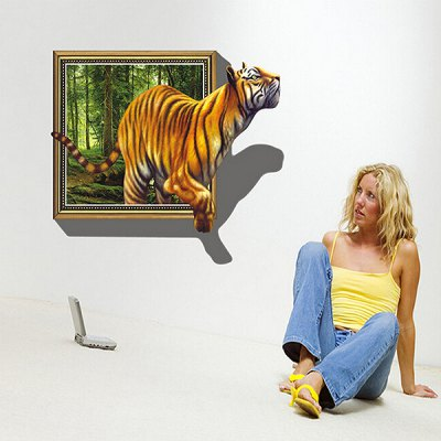 3D Effect Removable Wall Sticker PVC Vivid Effect of Big Tiger 3d blooming rose interior removable wall sticker