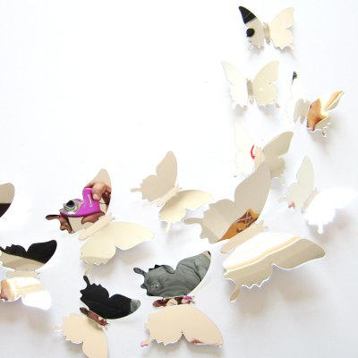AY - H02 3D Mirror Butterfly Style Wall Sticker 12PCS