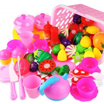49pcs Cutting Fruit Vegetable Kitchen Pretend Play Toy