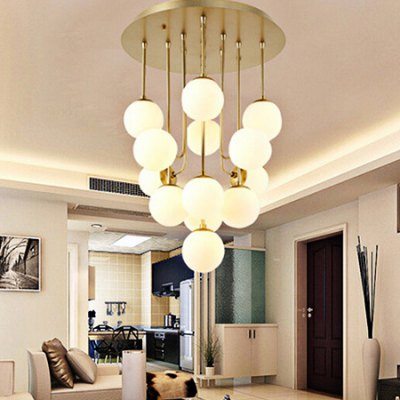Post-modern Stylish Pendant Light with Glass Ball 220VPendant Light<br>Post-modern Stylish Pendant Light with Glass Ball 220V<br><br>Available Light Color: Warm White,White<br>Beam Angle: 360 Degree<br>Bulb Base Type: E27<br>Bulb Included: Yes<br>CCT/Wavelength: 3000K,6500K<br>Function: Home Lighting<br>Illumination Field: 10 - 15sqm<br>Luminous Flux: 100lm<br>Output Power: 5W<br>Package Contents: 1 x Pendant Light, 1 x Set of Install Accessory<br>Package size (L x W x H): 57.00 x 57.00 x 70.00 cm / 22.44 x 22.44 x 27.56 inches<br>Package weight: 7.0500 kg<br>Product size (L x W x H): 47.00 x 47.00 x 62.00 cm / 18.5 x 18.5 x 24.41 inches<br>Product weight: 6.0000 kg<br>Quantity of Spots: 10<br>Sheathing Material: Iron, Glass<br>Style: Trendy, Modern/Contemporary<br>Type: Pendants<br>Voltage (V): AC 220