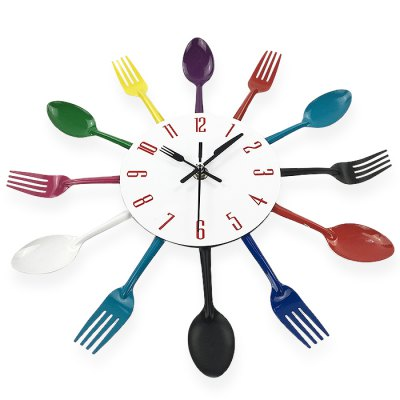 Creative Spoon Fork Style Stainless Steel ClockClocks<br>Creative Spoon Fork Style Stainless Steel Clock<br><br>Available Color: Colormix<br>Materials: Stainless Steel<br>Package Contents: 1 x Clock<br>Package Size(L x W x H): 33.00 x 33.00 x 4.50 cm / 12.99 x 12.99 x 1.77 inches<br>Package weight: 0.3700 kg<br>Product Size(L x W x H): 32.00 x 32.00 x 4.00 cm / 12.6 x 12.6 x 1.57 inches<br>Product weight: 0.2500 kg