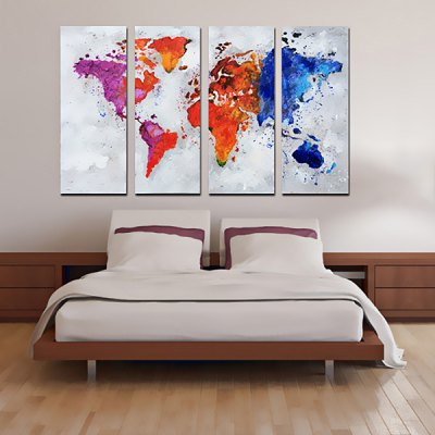 YHHP Canvas Oil Painting World Map Hand Painted Home Decor