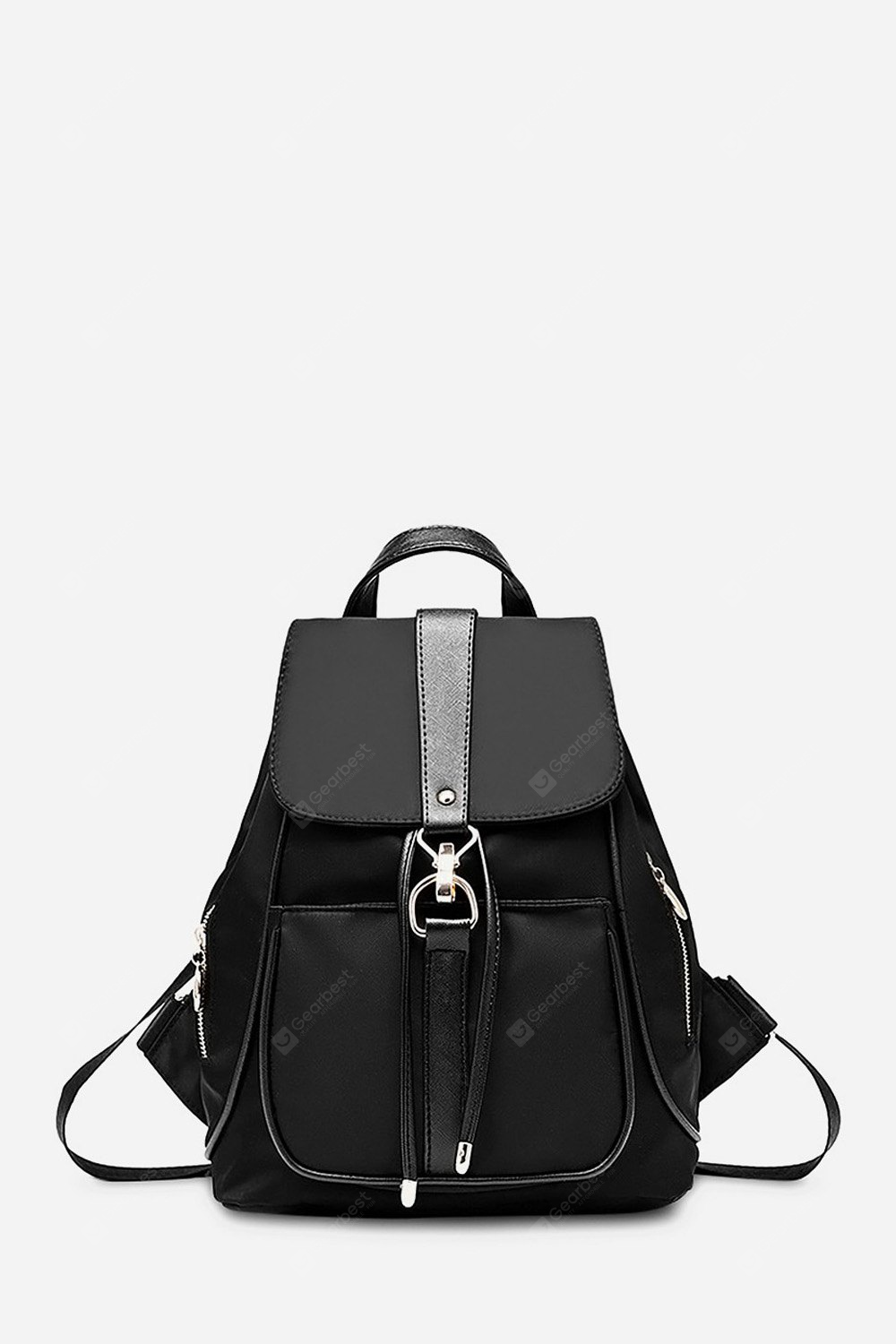 Women Fashion Water-resistant Nylon Backpack VERTICAL BLACK