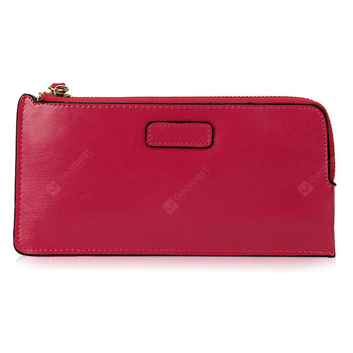 Women Zipper Solid Color Leather Wallet HORIZONTAL ROSE MADDER