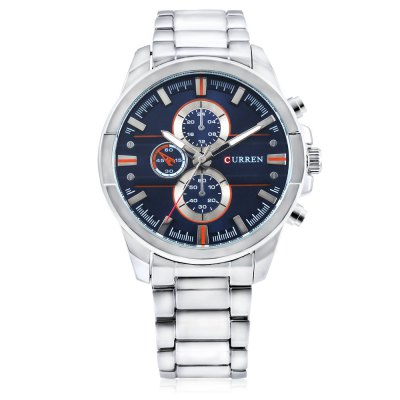 8274 Quartz Men WatchMens Watches<br>8274 Quartz Men Watch<br><br>Band material: Alloys<br>Brand: Curren<br>Case material: Alloy<br>Clasp type: Folding clasp with safety<br>Display type: Analog<br>Hour formats: 12 Hour<br>Movement type: Quartz watch<br>Package Contents: 1 x Watch, 1 x Box<br>Package size (L x W x H): 28.00 x 5.50 x 2.20 cm / 11.02 x 2.17 x 0.87 inches<br>Package weight: 0.2200 kg<br>Product size (L x W x H): 27.00 x 4.50 x 1.20 cm / 10.63 x 1.77 x 0.47 inches<br>Product weight: 0.1490 kg<br>The band width: 2.2cm<br>The dial diameter: 4.5cm<br>The dial thickness: 1.2cm<br>Watches categories: Men<br>Water resistance : Life water resistant
