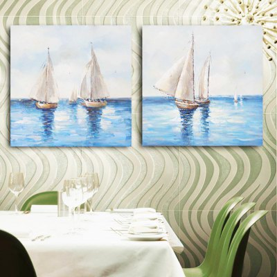 Canvas Oil Painting Sailing Hand Painted Home DecorOil Paintings<br>Canvas Oil Painting Sailing Hand Painted Home Decor<br><br>Brand: YHHP<br>Form: Two Panels<br>Package Quantity: 1 x Painting Set<br>Package size (L x W x H): 62.50 x 8.00 x 62.50 cm / 24.61 x 3.15 x 24.61 inches<br>Package weight: 2.4000 kg<br>Product size (L x W x H): 60.00 x 3.00 x 60.00 cm / 23.62 x 1.18 x 23.62 inches<br>Product weight: 1.5000 kg<br>Shape: Square<br>Theme: Landscape