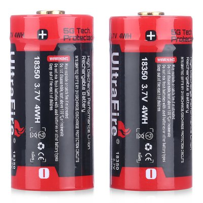 UltraFire 18350 Li-ion Rechargeable BatteryBatteries<br>UltraFire 18350 Li-ion Rechargeable Battery<br><br>Battery: 18350<br>Battery Type: Lithium-ion<br>Brand: Ultrafire<br>Head Type: Button Top<br>Package Contents: 2 x Ultrafire 18350 Li-ion Rechargeable Battery<br>Package size (L x W x H): 4.60 x 2.80 x 4.50 cm / 1.81 x 1.1 x 1.77 inches<br>Package weight: 0.0900 kg<br>Practical Capacity (mAh): 1100mAh<br>Product size (L x W x H): 1.80 x 1.80 x 3.50 cm / 0.71 x 0.71 x 1.38 inches<br>Product weight: 0.0260 kg<br>Protected: Yes<br>Rechargeable: Yes<br>Type: Battery<br>Voltage(V): 3.7V