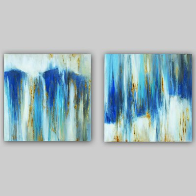 Blue Canvas Oil Painting Abstract Hand Painted Home Decor