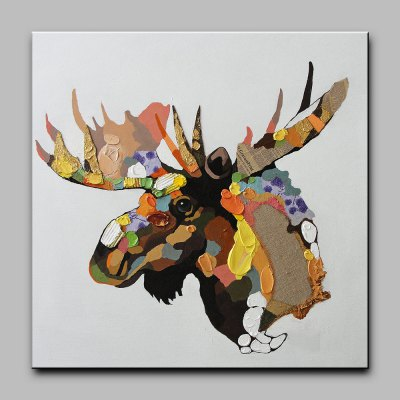 YHHP Canvas Oil Painting Moose Head Hand Painted