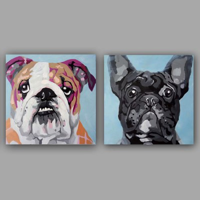 YHHP Canvas Oil Painting Dog Hand Painted Decor