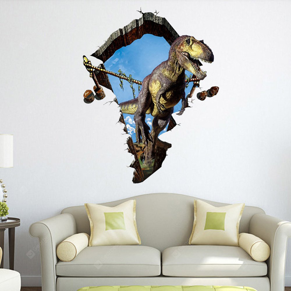 3D Dinosaur Wall Stickers Decals GRAY