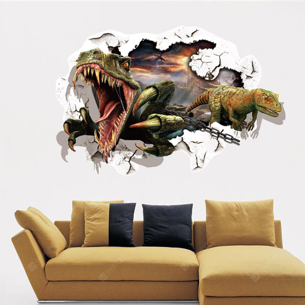 3D Dinosaurs Wall Stickers Home Decoration COLORMIX