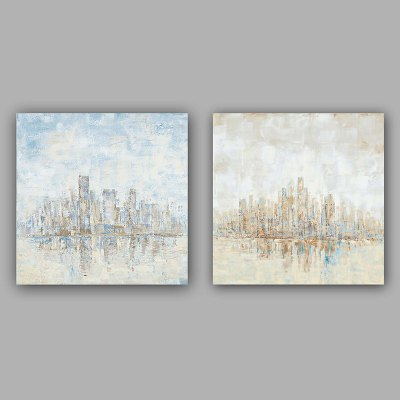 YHHP Canvas Oil Painting Modern Architecture Hand Painted