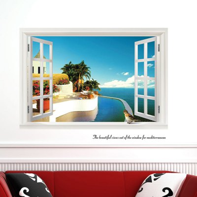 DSU 822 - y 3D Seascape Wall Sticker
