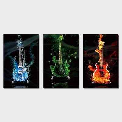 YSDAFEN 3PCS Guitar Printing Canvas Wall Decoration