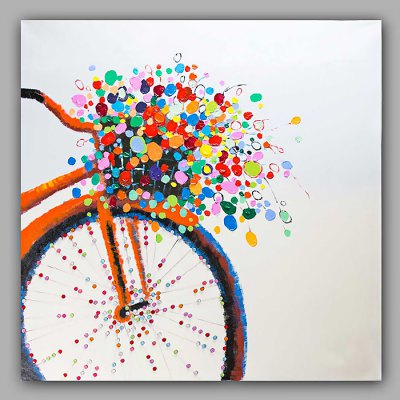 Hand Painted Bicycle Flower Oil Painting Decoration