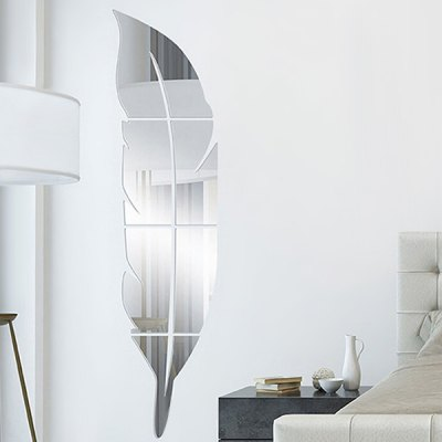 Creative DIY Feather Shape Removable Mirror Wall Sticker